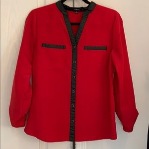Red blouse with faux leather accents